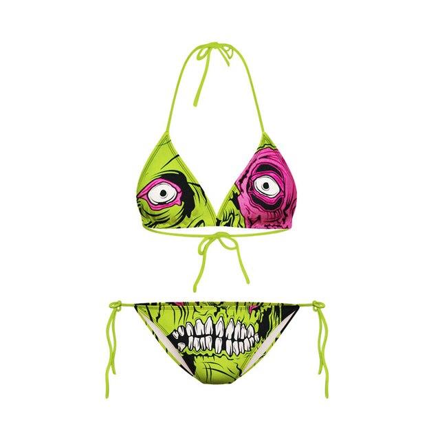Wanita Hijau Zombie Strappy Bikinis Set 3D Print Sexy Backless Pantai Swimwear Populer Pintar Mandi Swimsuit Push Up Lady FTBJL