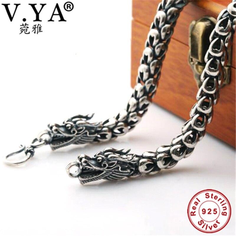 6-8MM Dragon Head chaîne 100% pur argent chaîne collier S925 en argent Sterling collier Thai argent colliers hommes bijoux HYN14