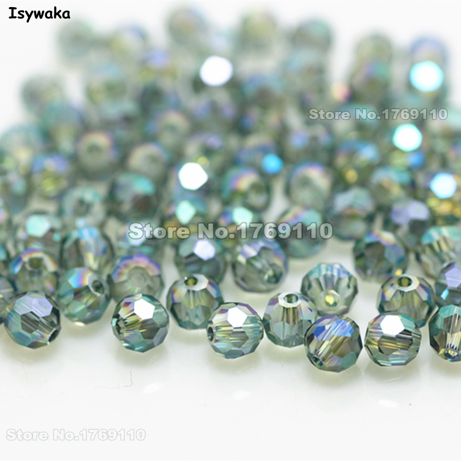 Isywaka Non-hyaline White Ab Color 98pcs 4mm Round Austria Crystal Bead Ball Glass Bead Loose Spacer Bead For Diy Jewelry Making Beads