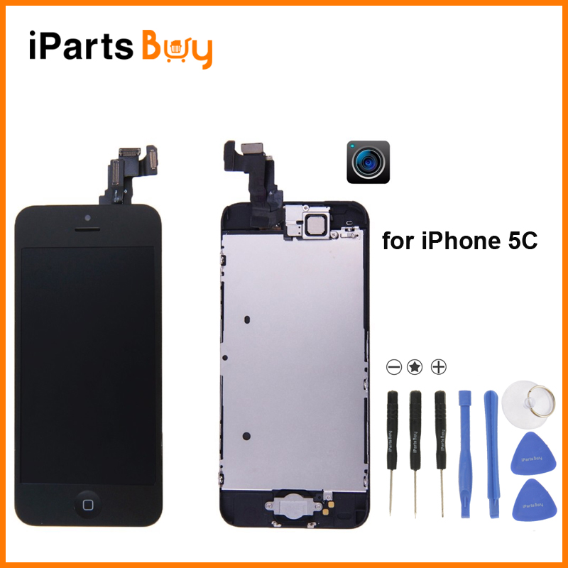 iPartsBuy for iPhone 5C LCD Display Front Camera Free Repair Tools Home Button Frame font b