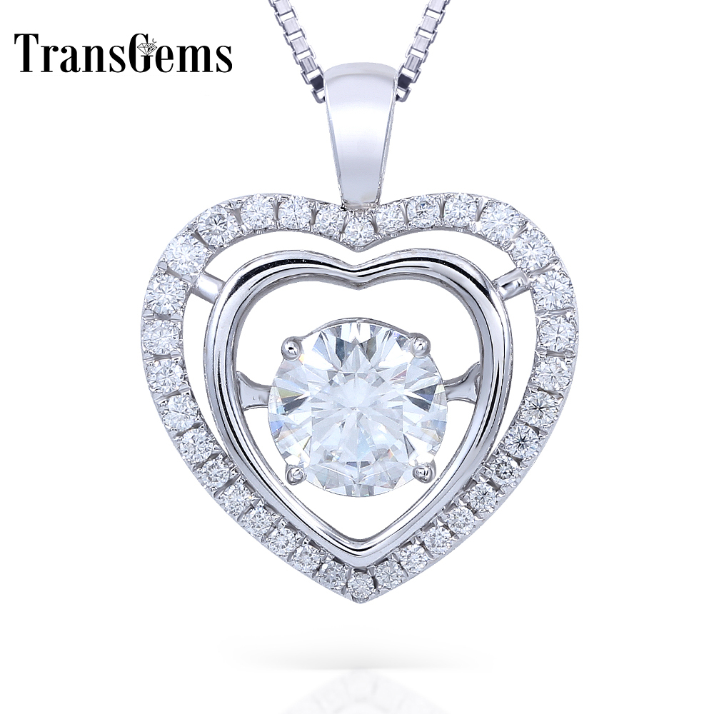 Transgems 14K White Gold 2.3CTW Carat Lab Grown F Moissanite Diamond Slid Pendant Necklace Heart Shaped Wedding Birthday Gift real 18k rose gold 1 2 carat ct def color lab grown moissanite diamond pendant necklace chain for women charm jewelry