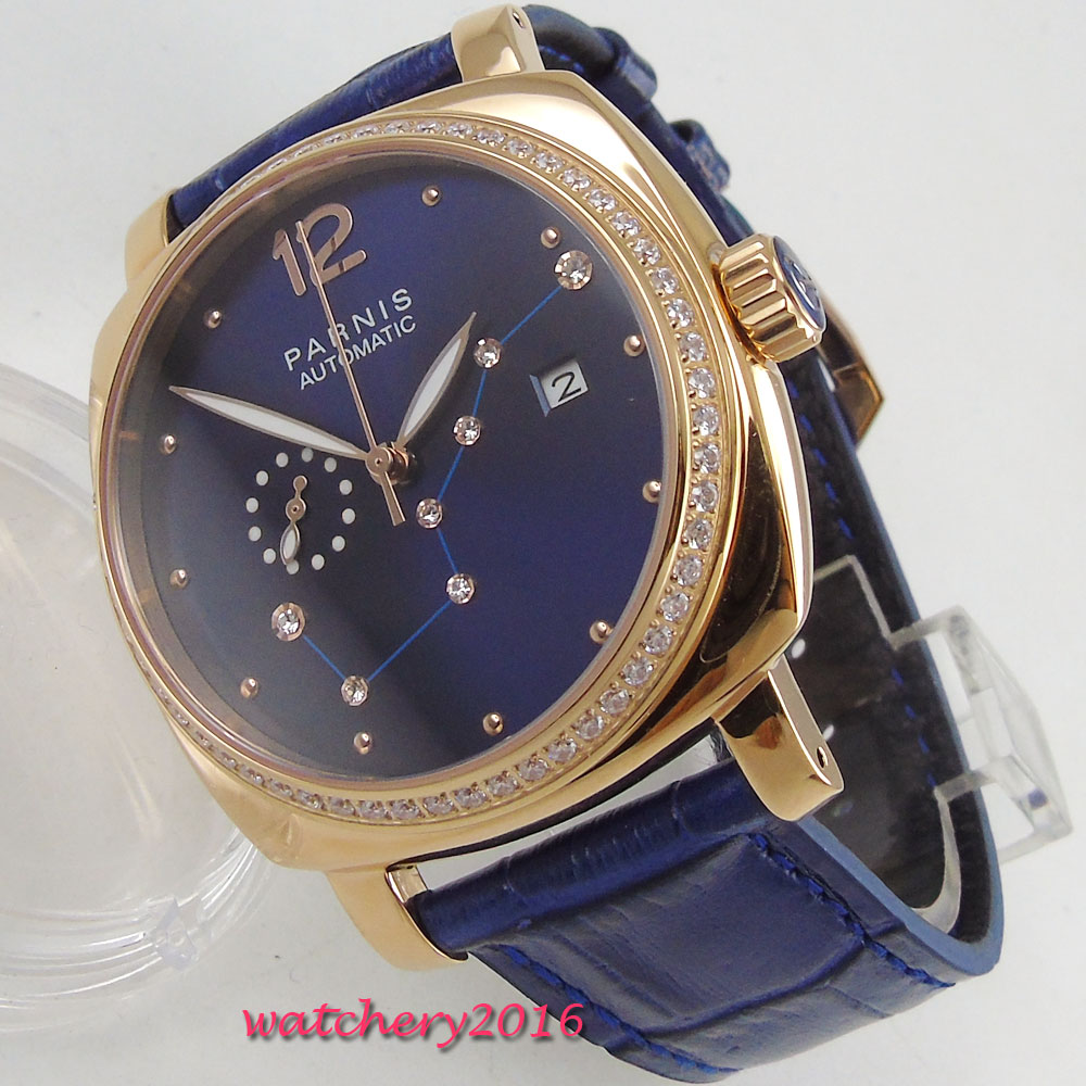 39mm Parnis Blue Dial diamond Marks Sapphire Glass Luxury Brand Rose Golden Case Leather miyota Automatic Movement men's Watch