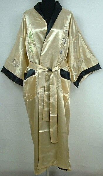 Бесплатная доставка Золото Реверсивные двуликий Китайских людей Шелковый Атлас Одеяние Вышивка Кимоно Ванна Платье Дракон Один размер S0005