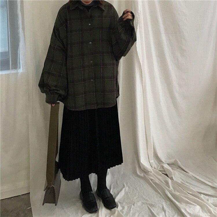 2019 harajuku outono xadrez seção fina lã