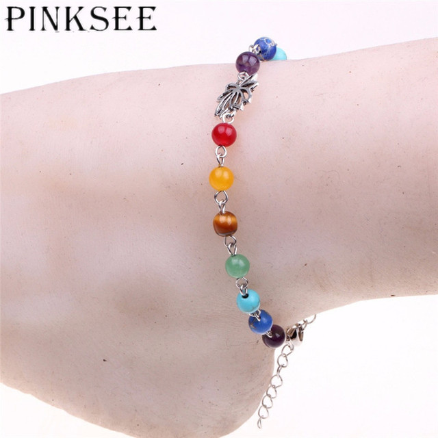 Summer Style Pretty Rainbow Chakra Multi Coloured Beaded Chains Anklet For Women S Ankle Bracelet