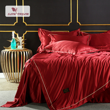 SLOWDREAM Luxury Bedding Set Red Bedspread Duvet Cover Double Linen Silk Flat Sheets Euro Comforter Adult Queen King Bedclothes