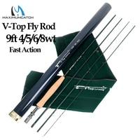Maximumcatch V Топ 40 T + 46 Т углеродного волокна летать удочка 9ft 4/5/6/8 Вес 4 раздела с углерода трубки Fly стержень