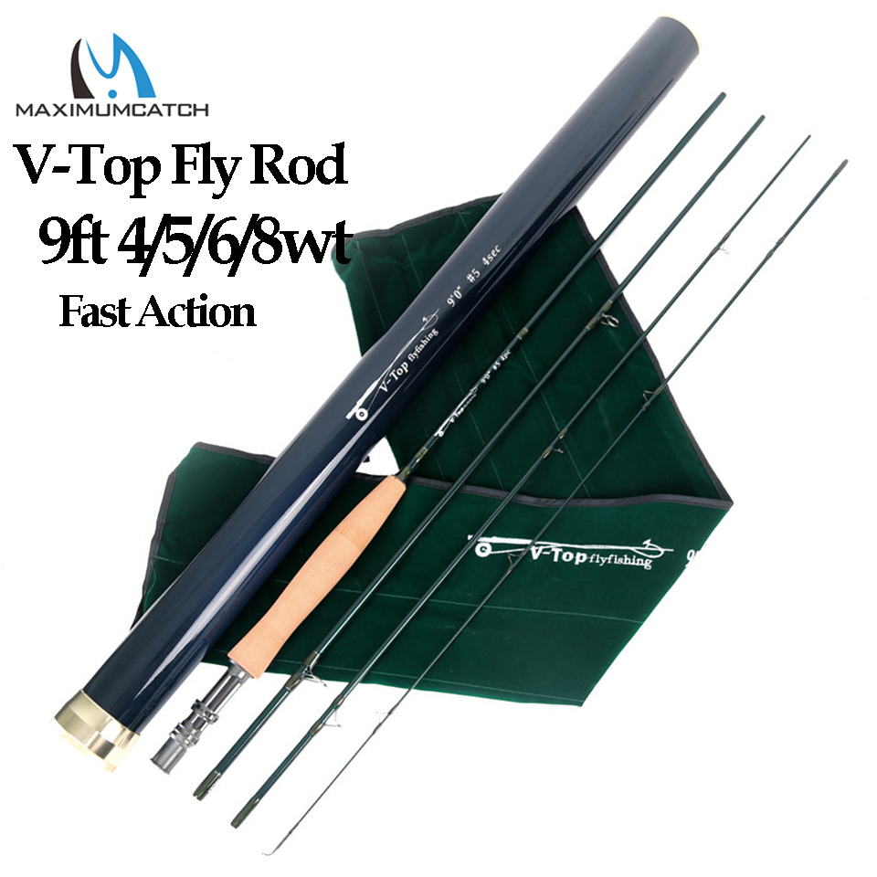Maximumcatch V-top 40T+46T Carbon Fiber Fly Fishing Rod 9ft 4/5/6/8 Weight 4 Section with Carbon Tube Fly RodMaximumcatch V-top 40T+46T Carbon Fiber Fly Fishing Rod 9ft 4/5/6/8 Weight 4 Section with Carbon Tube Fly Rod