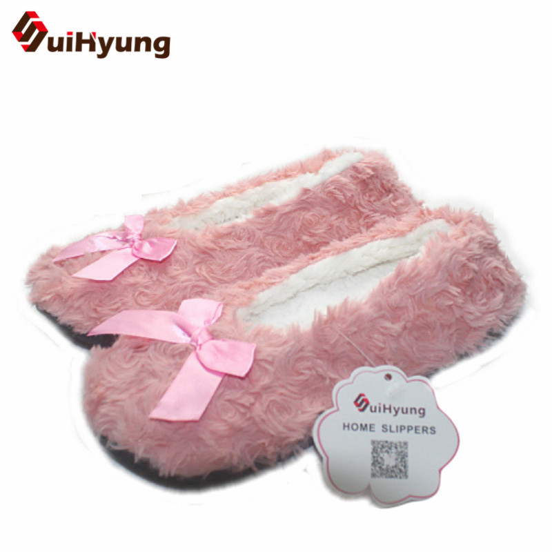 New Winter Warm At Home Women Slippers Cotton Shoes Plush Female Floor Shoes Bow-knot Fleece Indoor Shoes Woman Home Slippe warm at home women slippers cotton shoes plush female floor shoes candy color soft bottom fleece indoor shoes woman home slippe