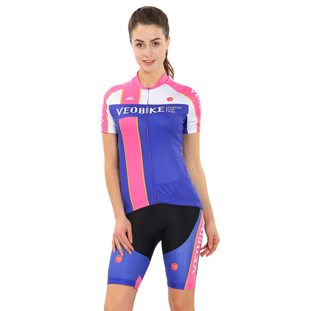 VEOBIKE 4D Summer Women Cycling MTB Short Sleeves Jersey Sets Bike Bicycle Suits Shirts Padded Cycling Short Sport Wear Uniforms