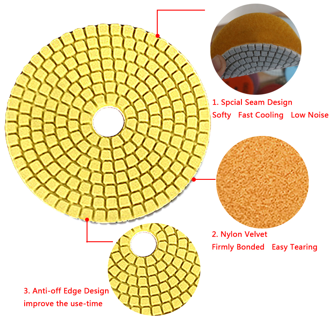 Flexible Sandpaper 100*4mm Grinding Discs Wet Diamond Polishing Pad For Glass Granite Marble Stone Grinding Wheel