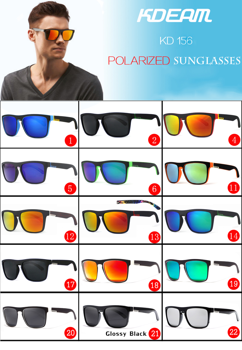 KDEAM Marca Homens Esportes óculos de Sol Óculos de Sol Mulheres Polarizada  lente Espelho Moldura Quadrada 11 Cores KD156 UV400 Com Caso Duro acea51cd4c