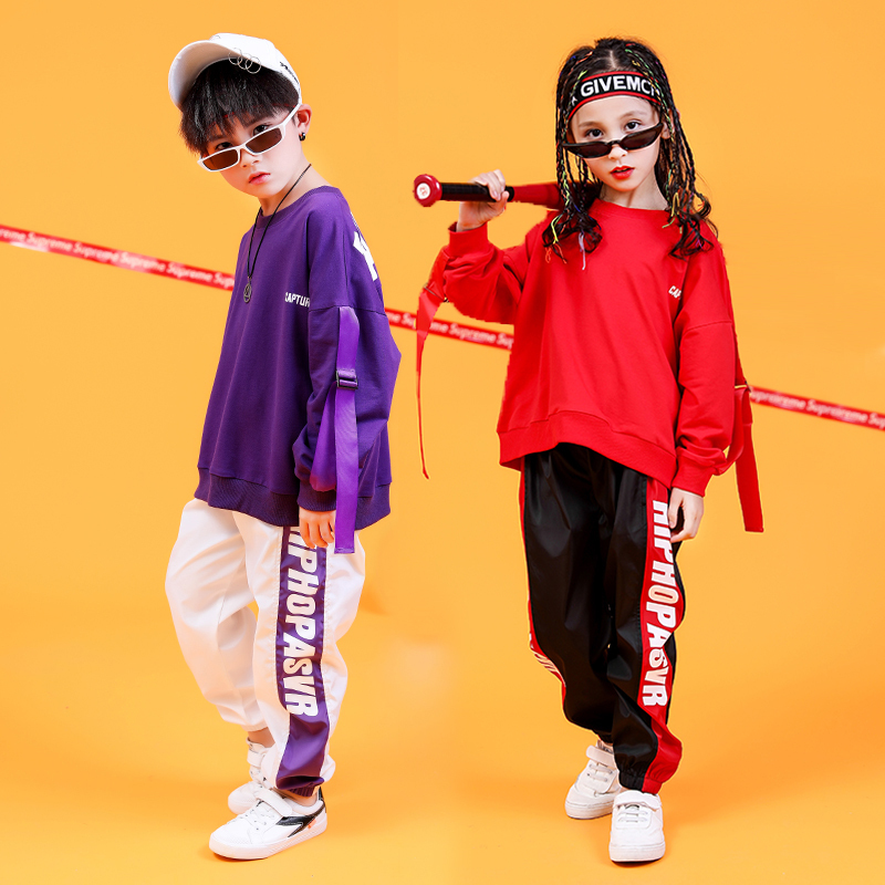 Children's Street Dance Suit Boys Hiphop Handsome Fashion Girls Performance Costumes Kid's Dance Clothing DQT1033