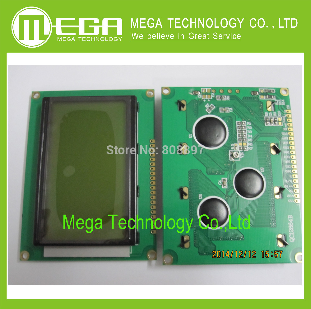 1PCS LCD 12864 128x64 Dots Graphic Yellow Green Color Backlight LCD Display Shield 5.0V Integrated Circuits