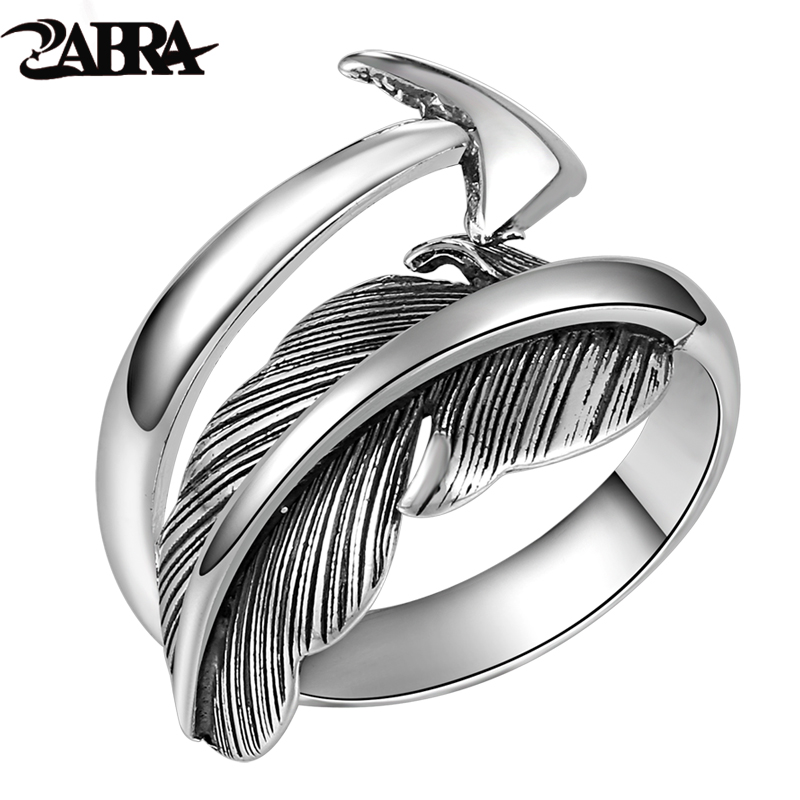 ZABRA Solid Sterling Silver Feathers Cupid's Sword Open Love Ring Women Men Thai Vintage Punk Rock Fashion Handmade Jewelry 2017