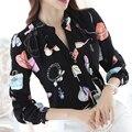 2017 Весна Цветочные Помада Женщины Блузка С Длинным Рукавом шифон блузка V-образным Вырезом Дамы Офис Рубашки Женщин Мода Женский Blusa