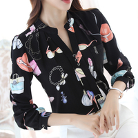 Elegant V Neck Women Blouses 2017 Spring Lipstick Printed Chiffon Blouse Female Long Sleeve Shirt Women
