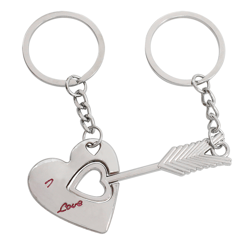 Trendy Couple Keychain I LOVE YOU Heart Lover Key Chain Romantic Creative Cupid's Arrow Key Ring Gift Men Jewelry Drop Shipping