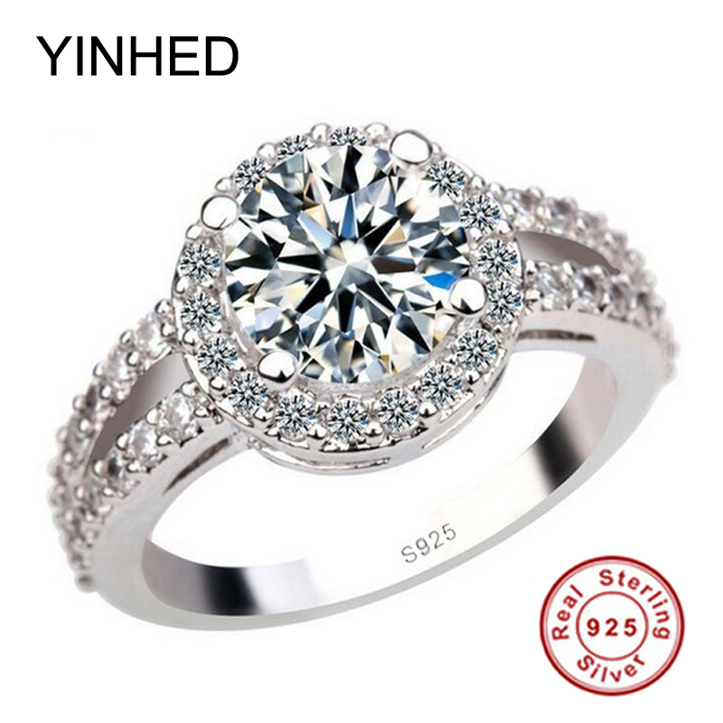 YINHED 100% 925 Sterling Silver Ring 2 Carat Cubic Zirconia CZ Wedding Engagement Rings for Women Fine Jewelry ZR246