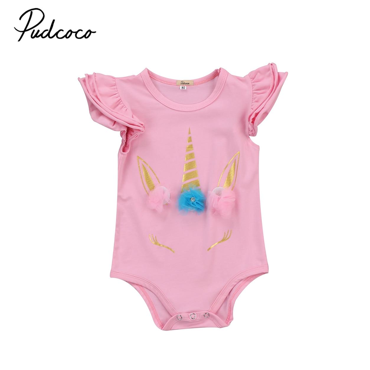 Unicorn Newborn Infant Baby Girls Sleeveless Ruffle Romper ...