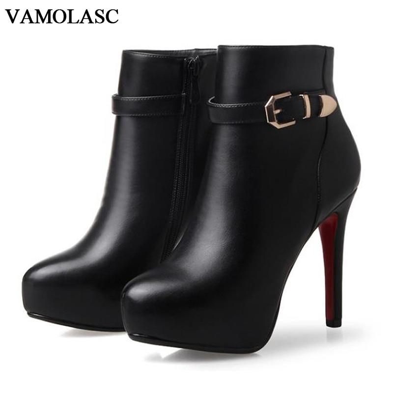 VAMOLASC New Women Autumn Winter Warm Leather Ankle Boots Sexy Zipper Thin High Heel Martin Boots Platform Buckles Women Shoes цены онлайн