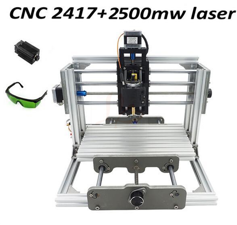 Disassembled pack mini CNC 2417 + 2500mw laser CNC engraving machine diy mini cnc router with GRBL control for wood PCB milling cnc 3018 standard with optional laser of 500mw 2500nw 5500 mw laser cnc engraving machine for pcb scribing milling wood router