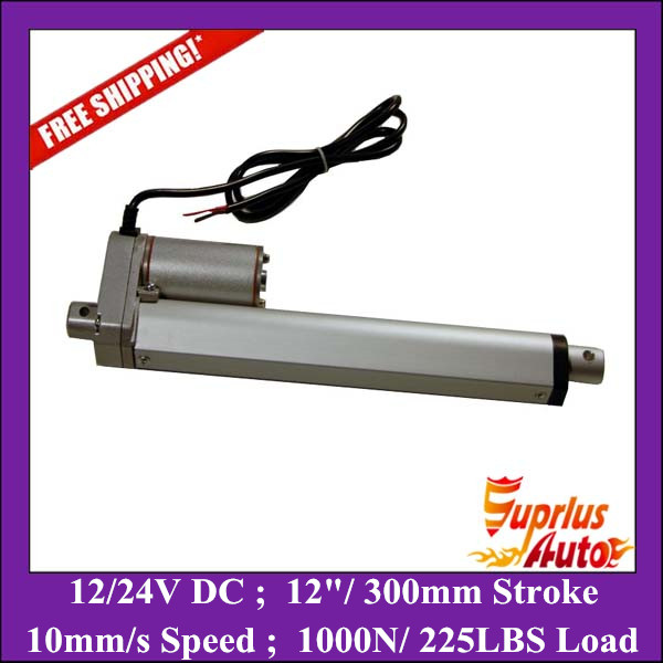 Free Shipping 12/ 300mm stroke linear actuator 12v - max load 1000N/ 225LBS heavy duty linear actuator water proof 12v 24v 150mm adjustable stroke 1500n 330lbs load 6mm s speed heavy duty linear actuator la10db free shipping