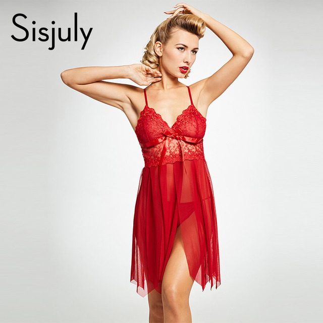 007166beb41 Sisjuly nightgown sexy lingerie red sleepwear lace see-through spaghetti  strap bra sleepdress nighdress solid women s nightgown