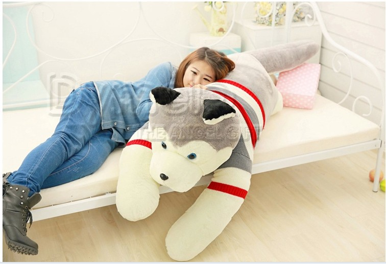 stuffed animal lovely husky dog plush toy about 160cm prone dog doll 63 inch throw pillow sleeping pillow toy h891