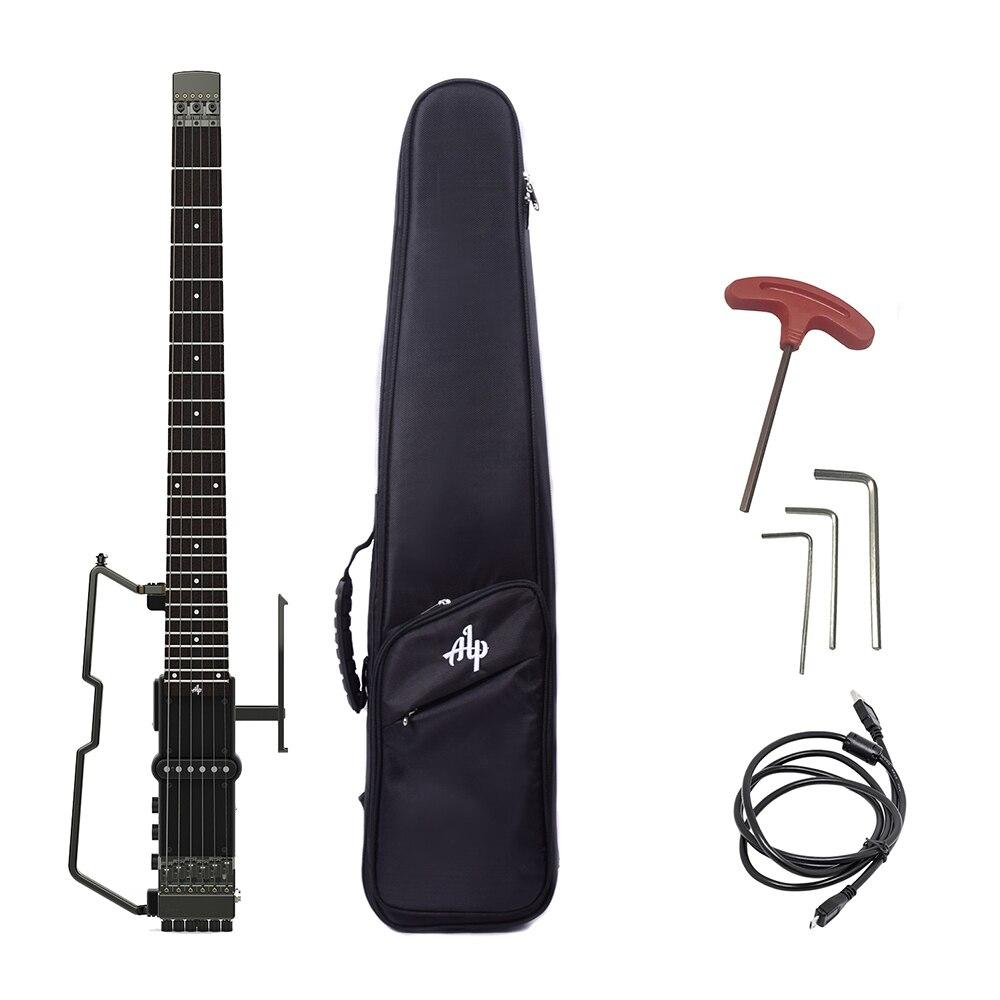 ALPFT-221S pliable guitare électrique sans tête accordeur intégré amplificateur casque batterie au Lithium touche en palissandre avec GigBag