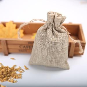 Image 3 - 9 * 12cm imitation linen bunch pocket wedding holiday Christmas gift bag jewelry nut linen bag 100pcs