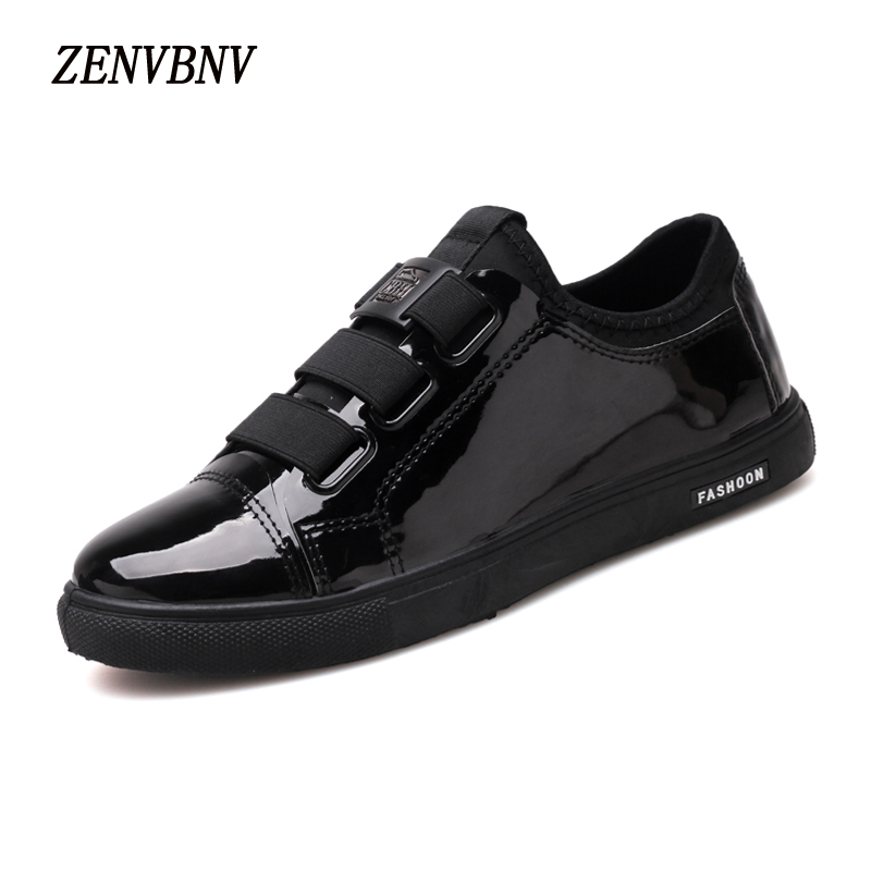 ZENVBNV New Autumn Fashion Elastic band Leather Retro Shoes Men Flat Heel Solid Shoes High Quality Bright black Casual Shoes high quality men fashion black white leather paint splatter low top casual shoes unisex luxury brand spring autumn flat shoes