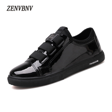ZENVBNV New Autumn Fashion Elastic band Leather Retro Shoes Men Flat Heel Solid Shoes High Quality Bright black Casual Shoes