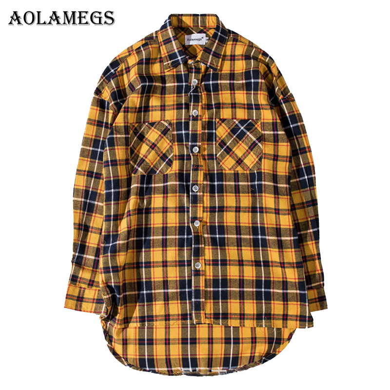 Aolamegs Shirts Men Plaid Extend Male Shirts Thin Cotton Full Sleeve Shirt Pocket Fashion Casual College Loose Style Streetwear