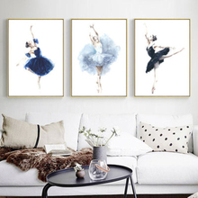 Watercolor Ballet Dance Girl Canvas Posters Modern Style Wall Art Painting Pictures for Living Room Bedroom Home Decor No Frame