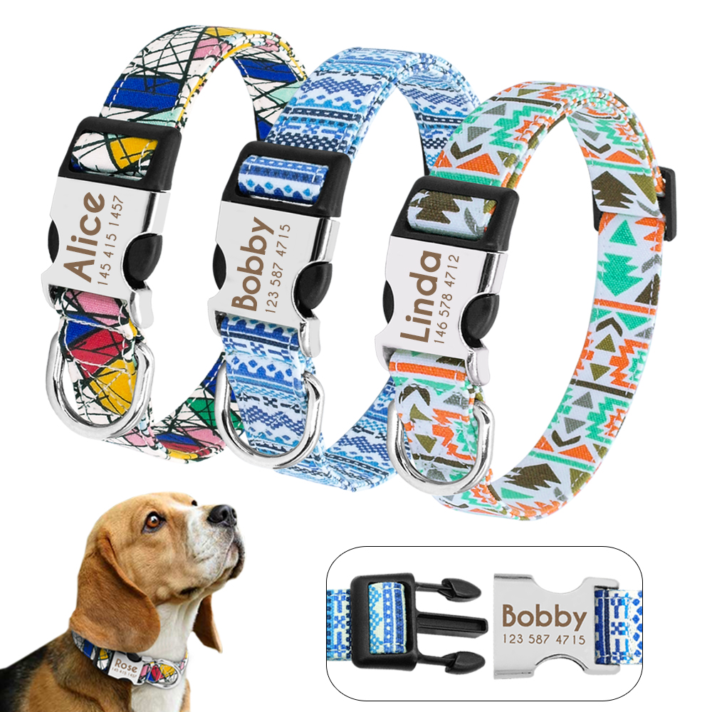 HTB1X480bfLsK1Rjy0Fbq6xSEXXav - Halsband hond met naam en telefoonnummer nylon vrolijke motieven