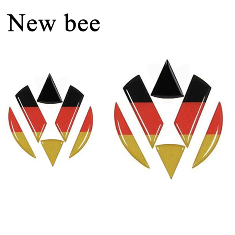 Newbee Car Styling Germany Flag Emblem Badge Sticker For Volkswagen Golf 6 7 Polo Beetle Touran Passat CC Front Rear Logo Decal
