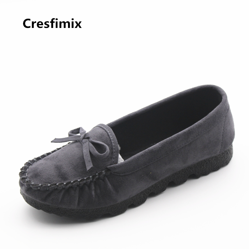 Cresfimix women casual plus size slip on flat shoes lady leisure round toe grey flats zapatos de mujer female comfortable shoes new shallow slip on women loafers flats round toe fishermen shoes female good leather lazy flat women casual shoes zapatos mujer