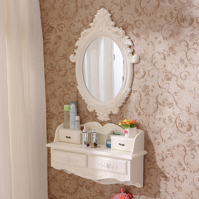 Superbe New Wall Mounted Dresser Bedroom European Style Garden Mini Dressing Table  Mirror Korean French Suitable