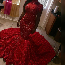 Red Mermaid Prom Dresses 2019 African Black Girls High Neck