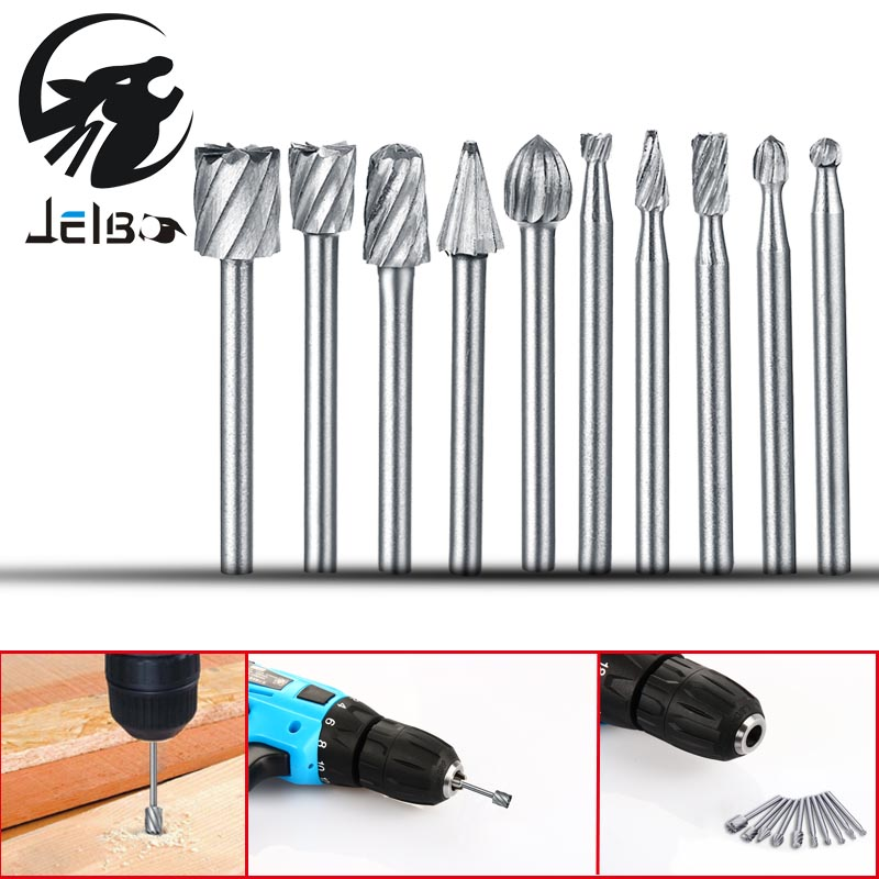 Jelbo 10PCS Drill Bit Carbide Burr Set Power Tools High Speed Steel Milling Cutter Electric Grinder Head Engraving Cutter best promotion 10pcs set diamond holesaw 3 50mm drill bit set tile ceramic porcelain marble glass top quality