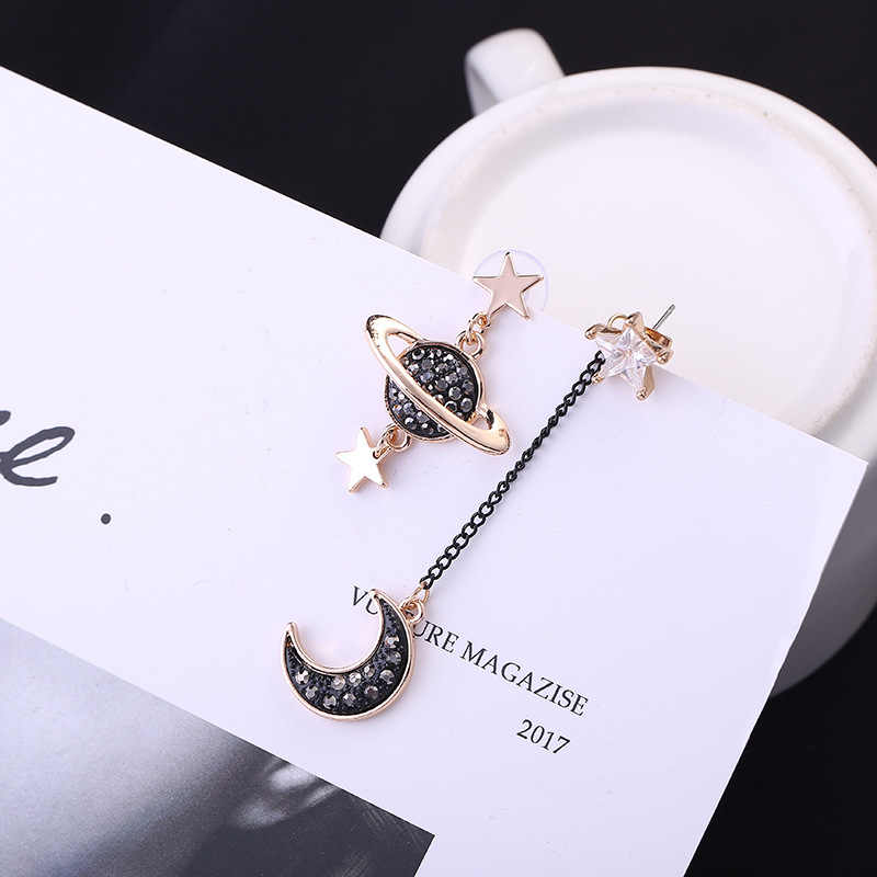 Hot style Korean edition earrings asymmetrical star moon zircon star long earrings wholesale