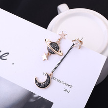 Hot style Korean edition earrings asymmetrical star moon zircon long wholesale