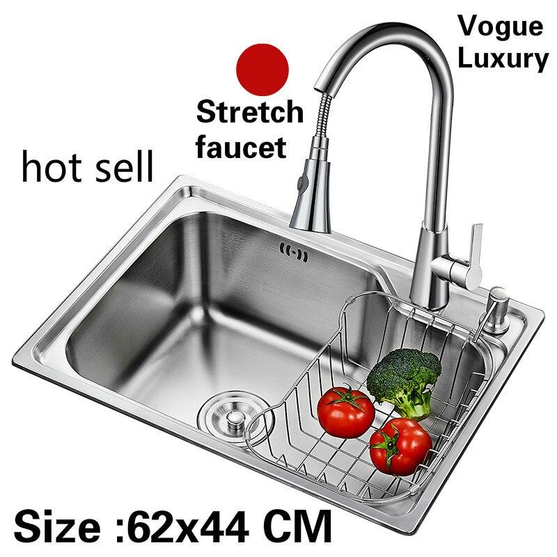 Livraison gratuite appartement de luxe cuisine unique auge évier stretch robinet lavage légumes 304 acier inoxydable vente chaude 620x440 MM