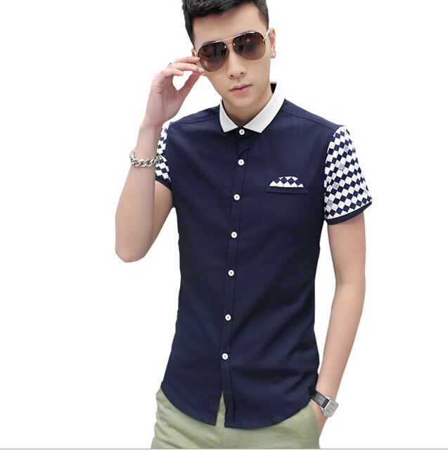 Mens short sleeve casual dress shirts custom shirt for Mens slim fit short sleeve shirt