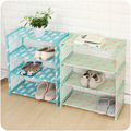 Cartoon Simple 3/4 Layer Steel Tube Shoe Rack Non-woven Fabric Dustproof Shoes Storage Organizer Easy Assembled Space Saving