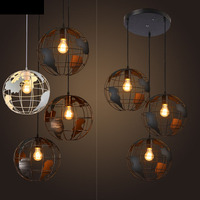 Nordic Retro Industrial Iron Chandeliers Creative Personality Clothing Shop Coffee Restaurant Three Single Head Bar Led