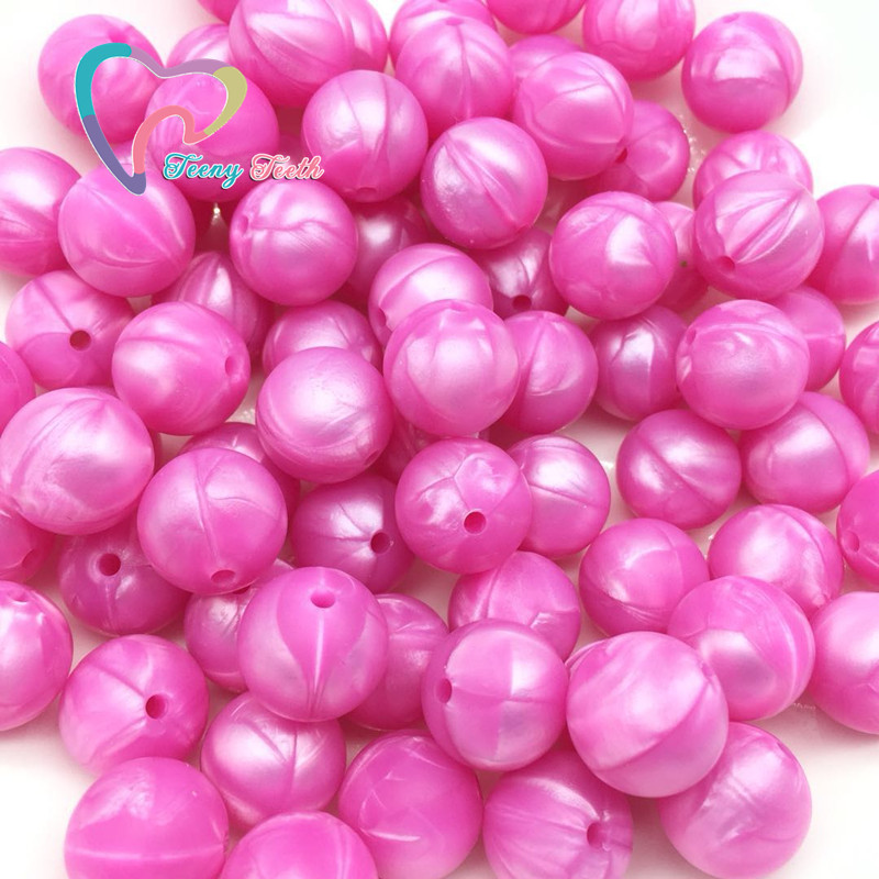 Teeny Teeth 10 Pcs Pearl Blue Baby Accessories Beads Round Size 12-15mm Food Grade Teething Silicone Loose Bead For Diy Jewelry Beads & Jewelry Making