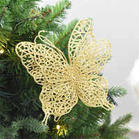6 Pcs Christmas Butterfly Decorations 3D Christmas Tree Ornaments Wedding Party Decorations Crafts Gift for Child 11.1