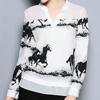 2016 New Design Women Shirt Top Blusas Pullover V Neck Graphic Horse Print Patchwork Color Block